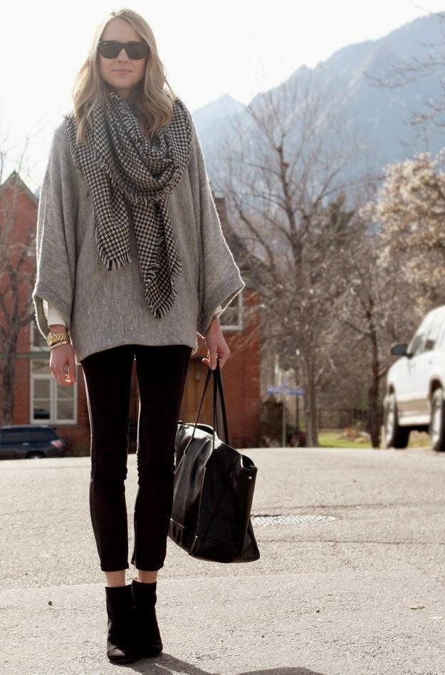 15a35caa674 inspiration fashion  Fall Outfit grey poncho sweater