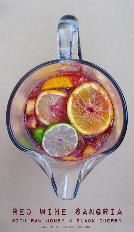 Red Wine Sangria with Raw Honey & Black Cherry Juice   www.therisingspoon.com