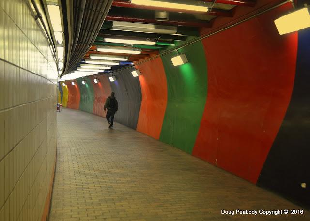 MBTA, State Street Station, Boston, Massachusetts, colorful, rainbow, corridor