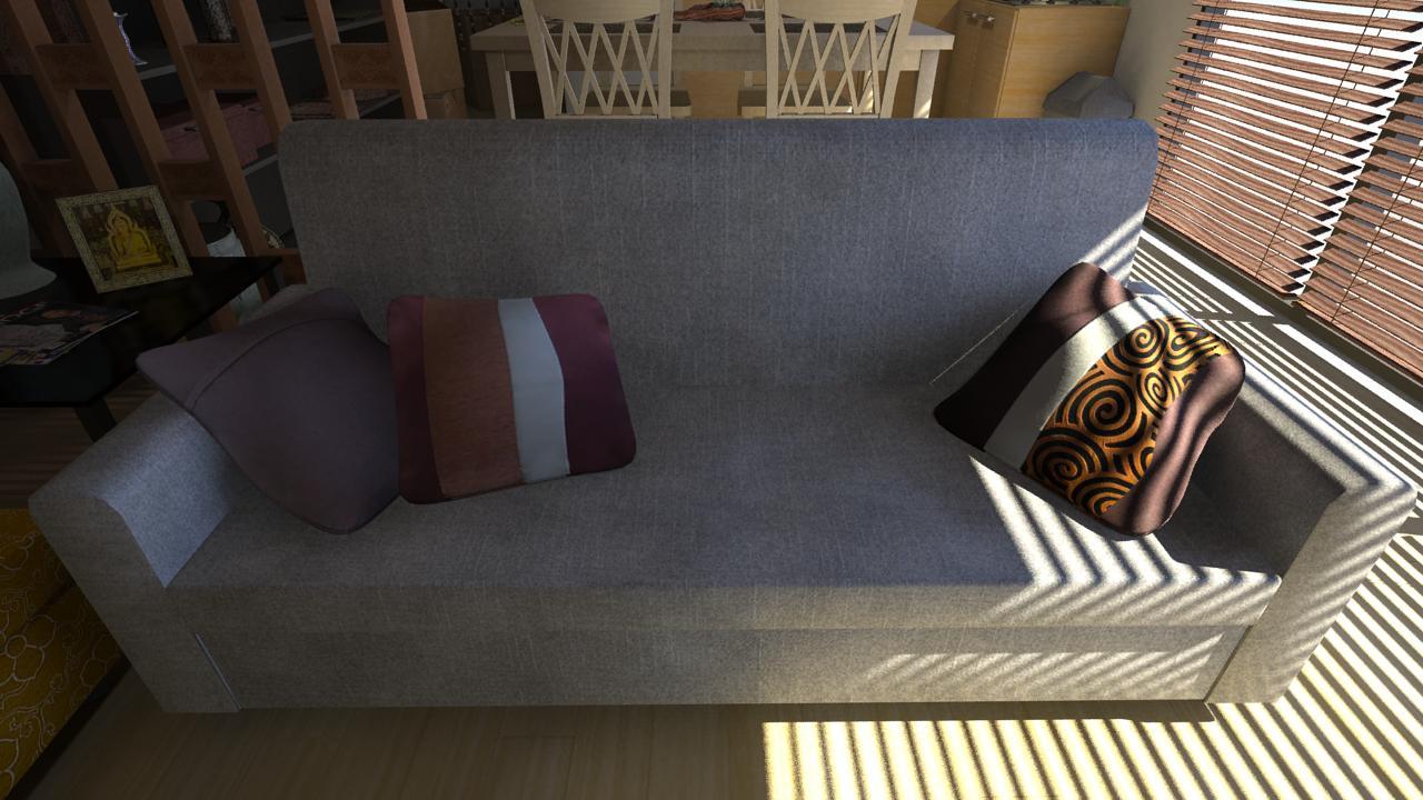 Modern thai house interior props renders