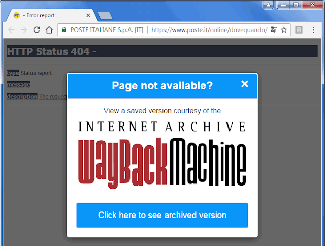 Estensione Chrome WayBack Machine popup