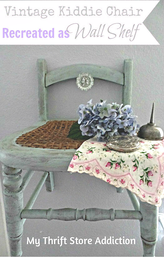 Vintage kiddie chair recreated as wall shelf