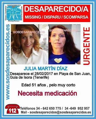 Buscan a una mujer desaparecida, Julia Martín Díaz, en playa de San Juan, Guía de Isora, Tenerife que necesita medicación