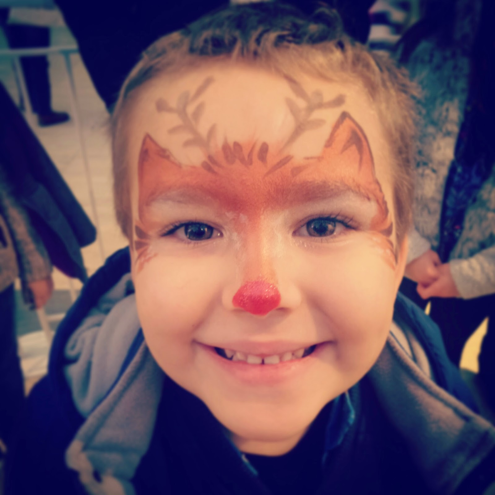 Big Boy with a reindeer face paint