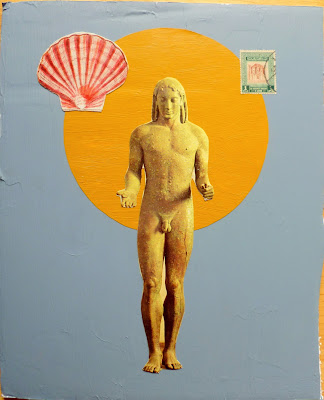 seashell flag ancient greek statue of a male god postage stamp fluxus Dada collage