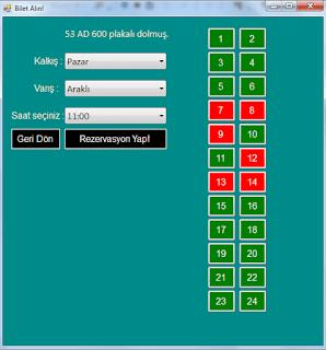 C# Basit Otobüs - Dolmuş Rezervasyon Otomasyonu SQL Örneği