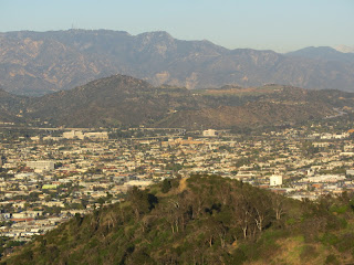View northeast from Glendale Peak toward Beacon Hill, Glendale, Verdugo Hills, and San Gabriel Mountains