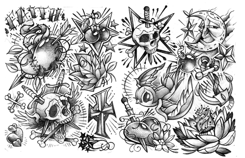 Flash Tattoo Drawings Mens
