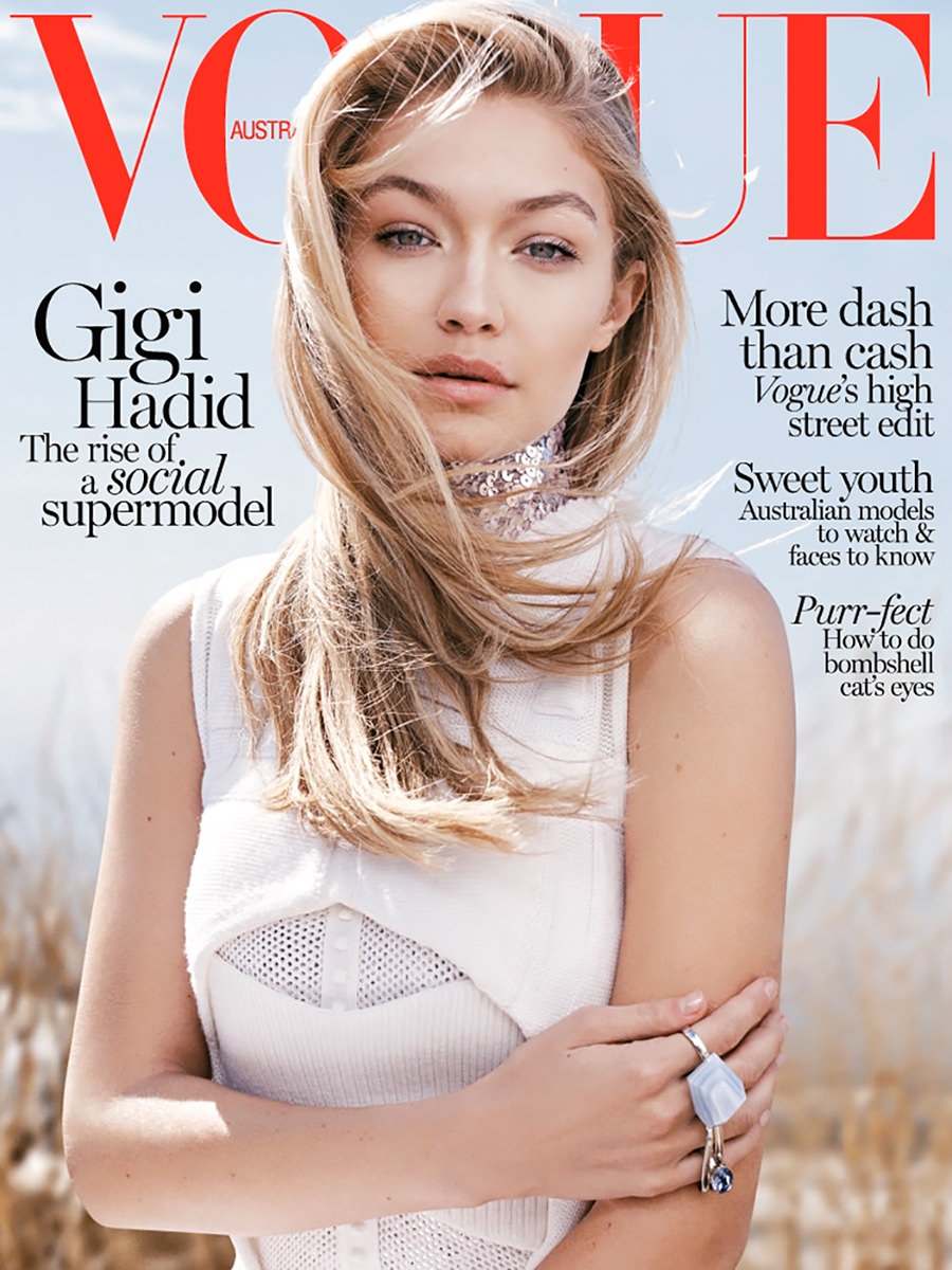 vogue gigi hadid covers magazine australia june magazines bella horne germany poses