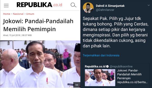 Jokowi: Pandai-Pandailah Memilih Pemimpin; Begini Komentar Menohok Dahnil