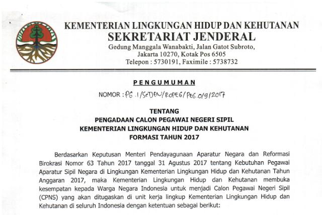 LHK - Soal dan Pendaftaran CPNS Kementerian Lingkungan Hidup dan Kehutanan 2017