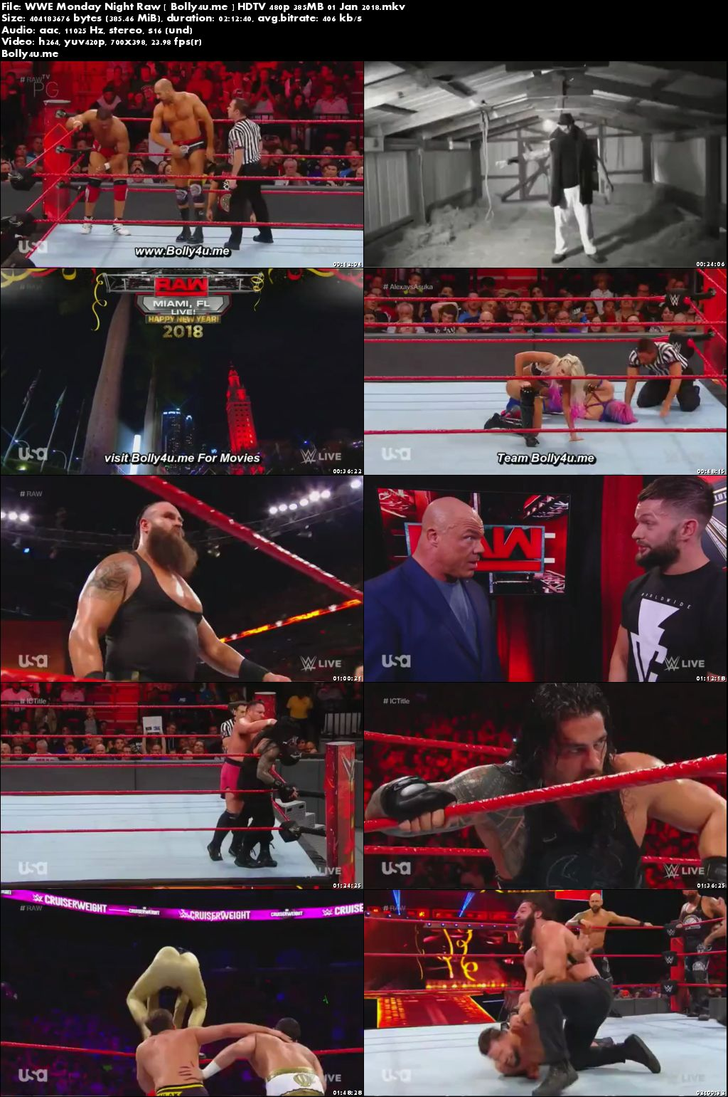 WWE Monday Night Raw HDTV 480p 350MB 01 Jan 2018 Download