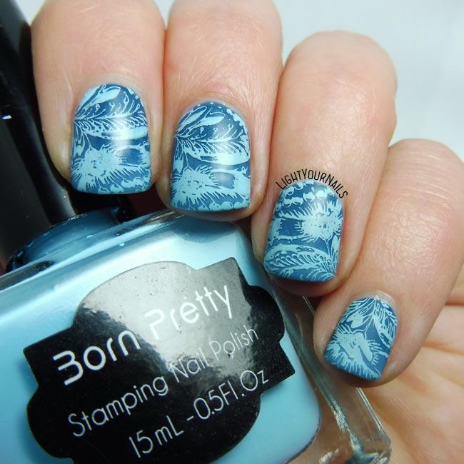 Blue MoYou stamping nail art