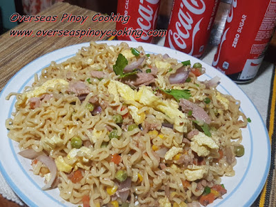 Pansit Canton with Tuna and Egg with Coke
