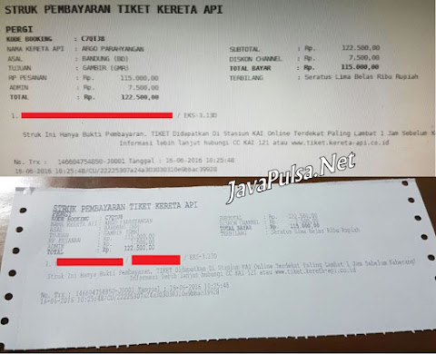 Contoh Struk Pembelian Pesanan Tiket Kereta Api Secara Online di Java Pulsa PPOB PT Aslamindo Eltama Raya