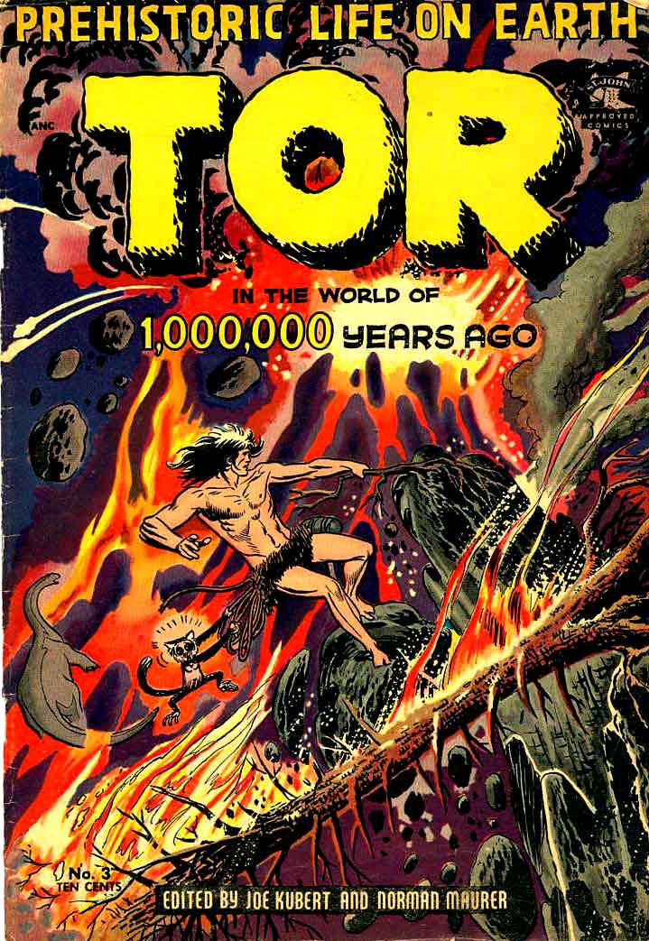 Tor v1 #3 st john golden age comic book cover art by Joe Kubert