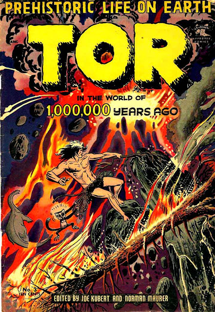 Tor v1 #3 st john golden age comic book cover art by Joe Kubert