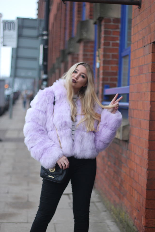 missguided lilac fur coat