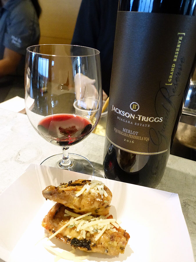 Jackson-Triggs Grand Reserve Merlot 2016 (88 pts) with wood-fired chicken wings topped with black pepper, sage & Parmesan