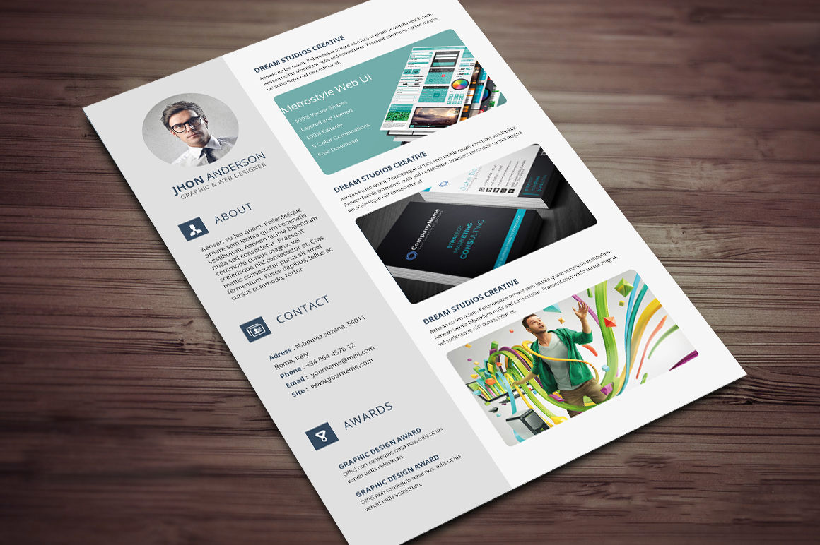 Creative Resume Cv Template With Cover Letter And Portfolio Free
