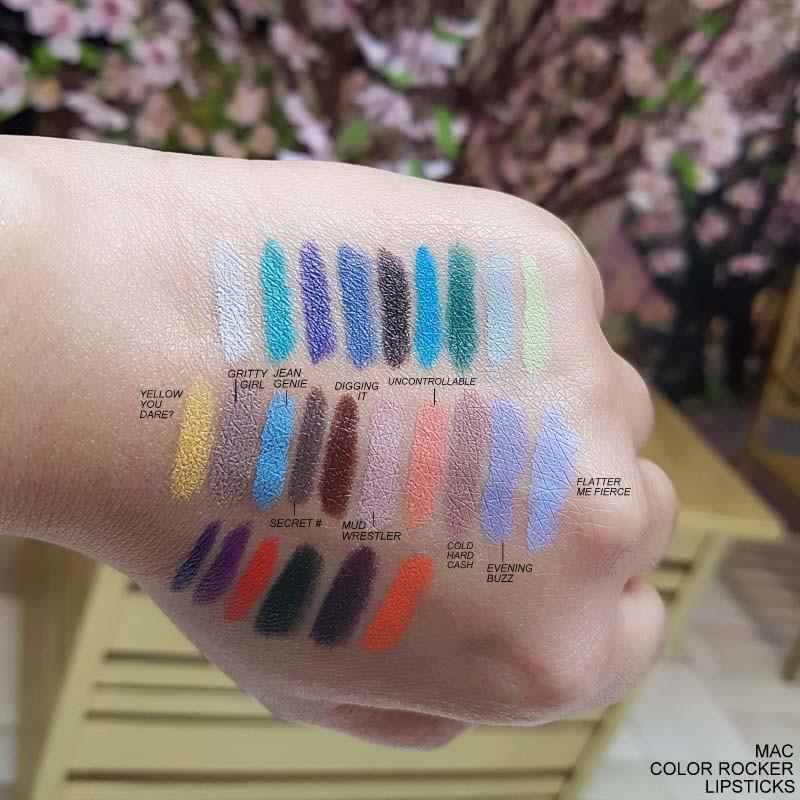 MAC Colour Color Rocker Lipsticks Spring 2017 Makeup Swatches Yellow You Dare Gritty Girl Jean Genie Secret Digging it Mud Wrestler Uncontrollable Cold Hard Cash Evening Buzz Flatter Me Fierce