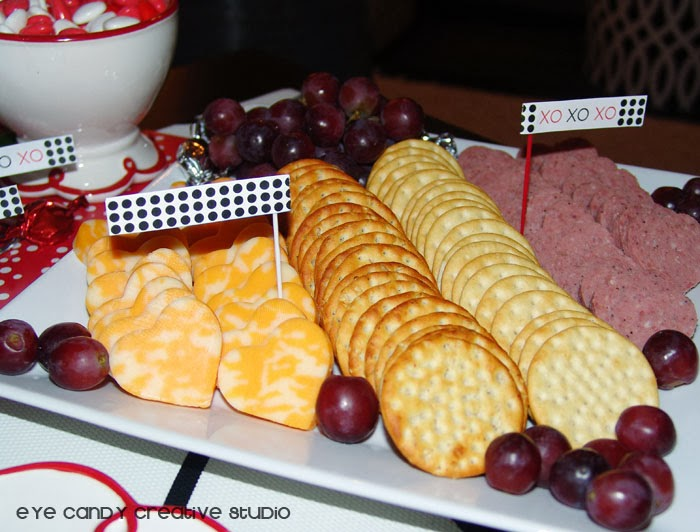 chesse and crackers, grapes, menu ideas, valentines day menu, free flag printables