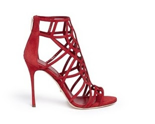 Sergio Rossi Red caged  stiletto sandals