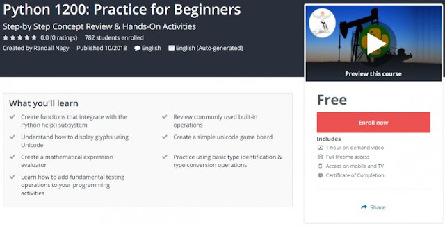 [100% Free] Python 1200: Practice for Beginners