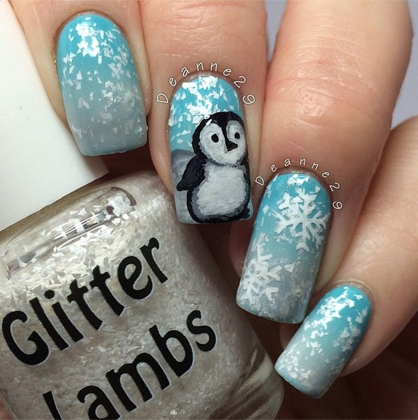Christmas custom handmade indie nail polishes for Christmas holiday season. Christmas penguin nails. Snow nails.