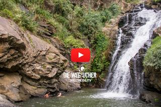 Ravana Falls Wasserfall, Ceylon Hutaffen in Sri Lanka, WELTREISE