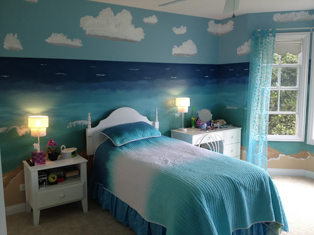 amazing beach theme bedroom with small single bed and white bedside tables with drawers