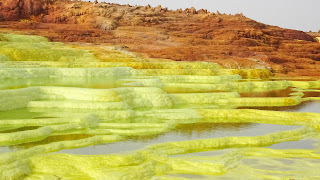 Exists only in Ethiopia. Waterfalls made of Sulfur