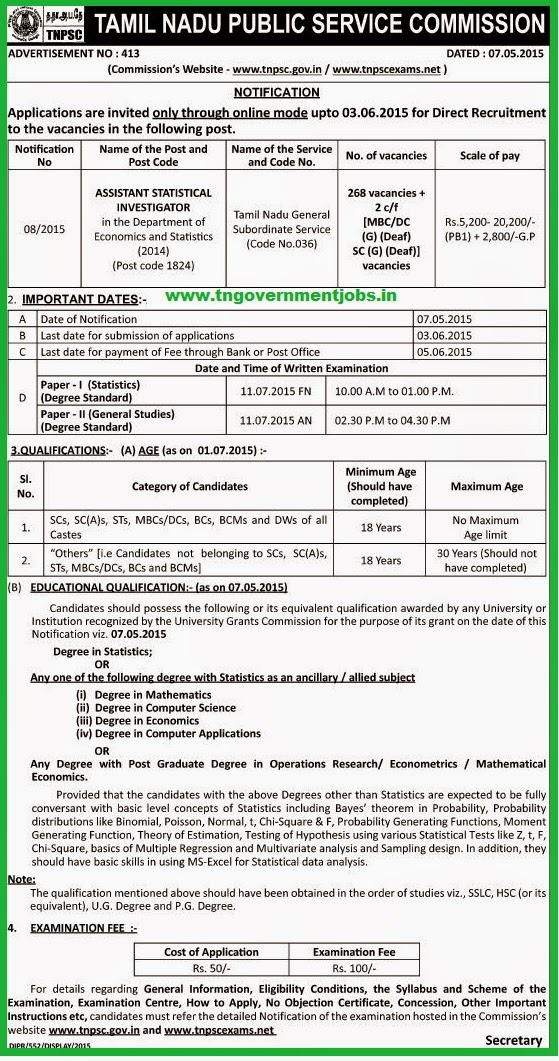 TNPSC Assistant Statistical Investigator 270 Post Recruitments (www.tngovernmentjobs.in)