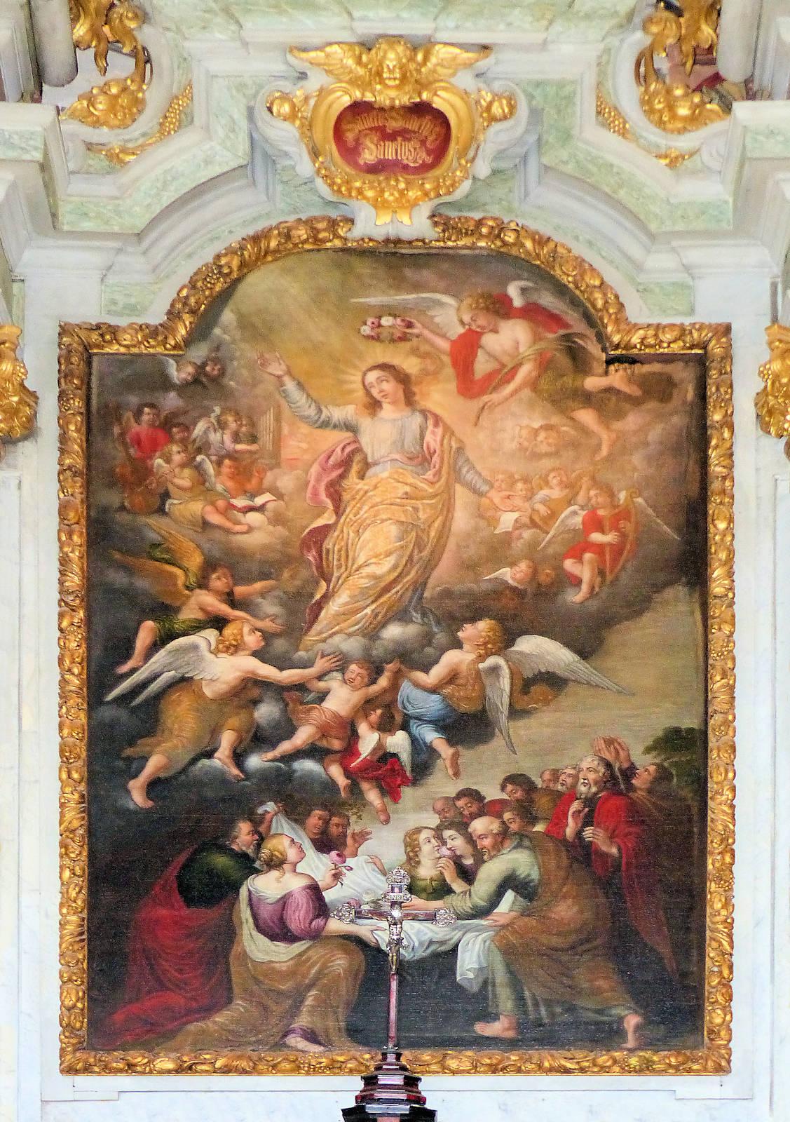 """Photo Chapelle Hospice d'Havré, Tourcoing - Tableau du retable """"Assomption de Marie"""""""