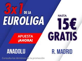 suertia promocion euroliga Anadolu vs Real Madrid 7 diciembre