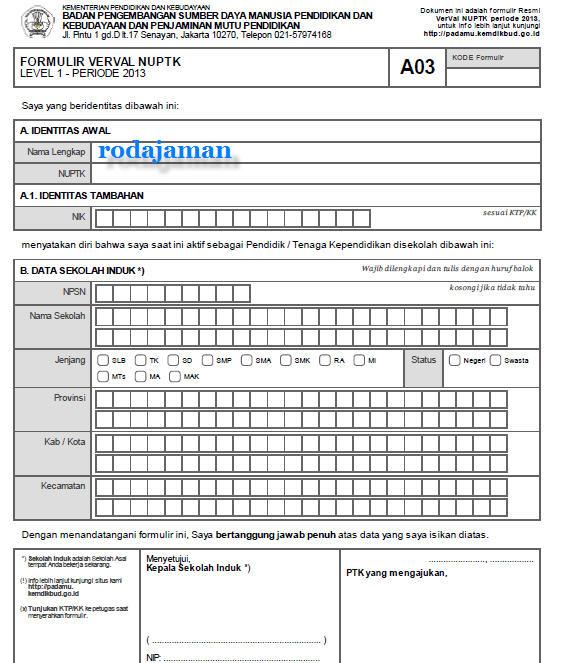 formulir verval nuptk level 1 periode 2013