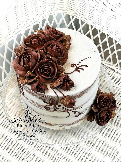 csokoládé ganache habzsákos virágok