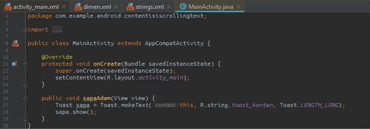 Full Script MainActivity.xml Scrolling Text
