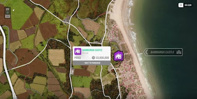 Forza Horizon 4, House Location Map, Bamburgh Castle