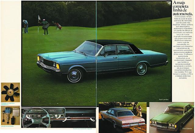 Propaganda do Ford Galaxie no final dos anos 70, onde apresentava sua linha completa de automóveis.