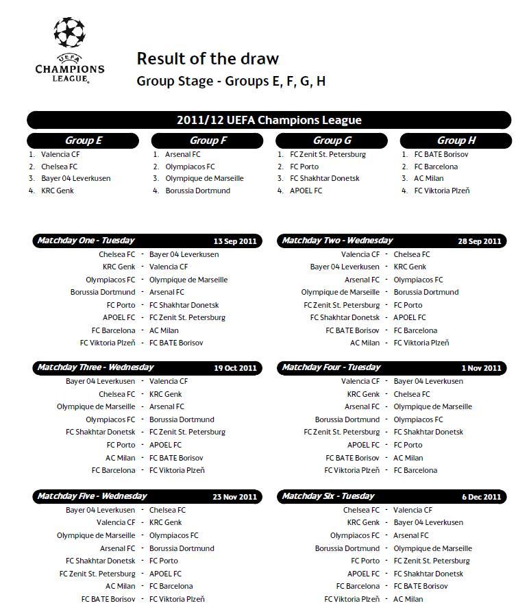 Milan Ac Calendrier.Boukmour Blog Calendrier Champions League 2011 Uefa Dates