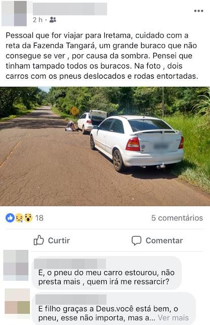 Estrada deteriorada gera reclamações!