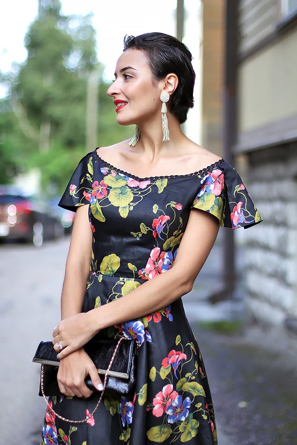 black flower dress 50s
