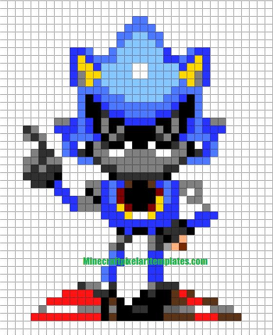 Minecraft Pixel Art Templates: Metal Sonic