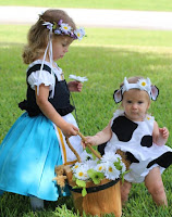 Milkmaid and daisy cow costume