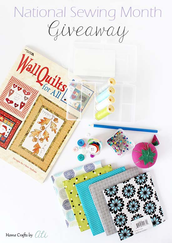 sewing items for a giveaway celebrating national sewing month