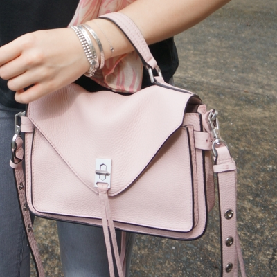 grey jeans with Rebecca Minkoff small Darren messenger bag in peony | awayfromtheblue