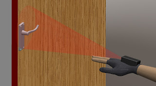 A fingerless glove uses a camera to detect small objects such as door handles.
