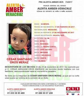Activan Alerta Amber para Cesar Santiago Oros Meraz en Xalapa Veracruz