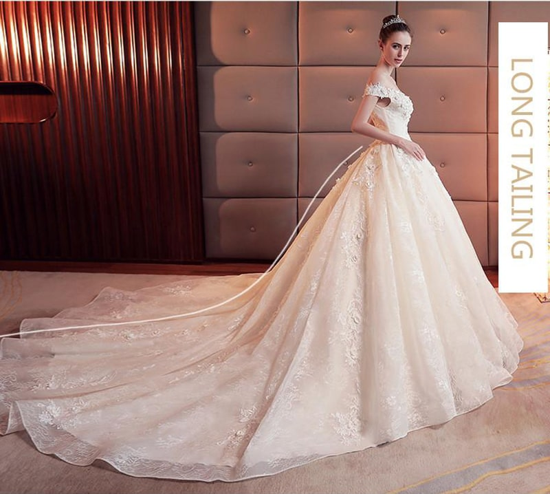 Milla Nova Short Sleeves Lace Wedding Dresses with High Split A Line Floor Length and Trailing Version Stereo Flower Boho Bridal Gowns